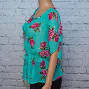 Jolie blue floral blouse